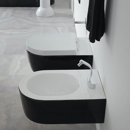 Arredo bagno: Sanitari vaso e bidet sospesi Bicolor bianco interno e nero esterno, mod. Link, Ceramica Flaminia